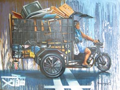 Series II </br> Johnny Leo / The pedicab / 30F / oil on canvas / 2013