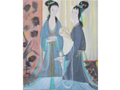 Lin feng-mian / Two beauties /  ink and colour on paper / 41.5x50cm / 2012