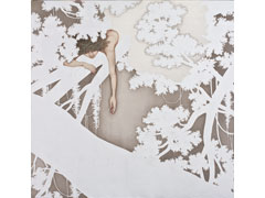 To reach </br>  Colors, Ink, Metal Color  on Silk.Tengucho Paper or Fuki Kozo Paper Underpinning.Acrylic case </br> 90x90cm  2013