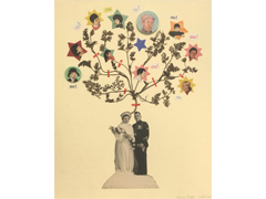 Love Tree4_ Wooden Frame, Branch, Tree Leaf, Portrait Collage_ 30x24cm_2011-2012